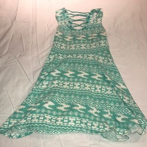 Turquoise/ White Tribal print dress